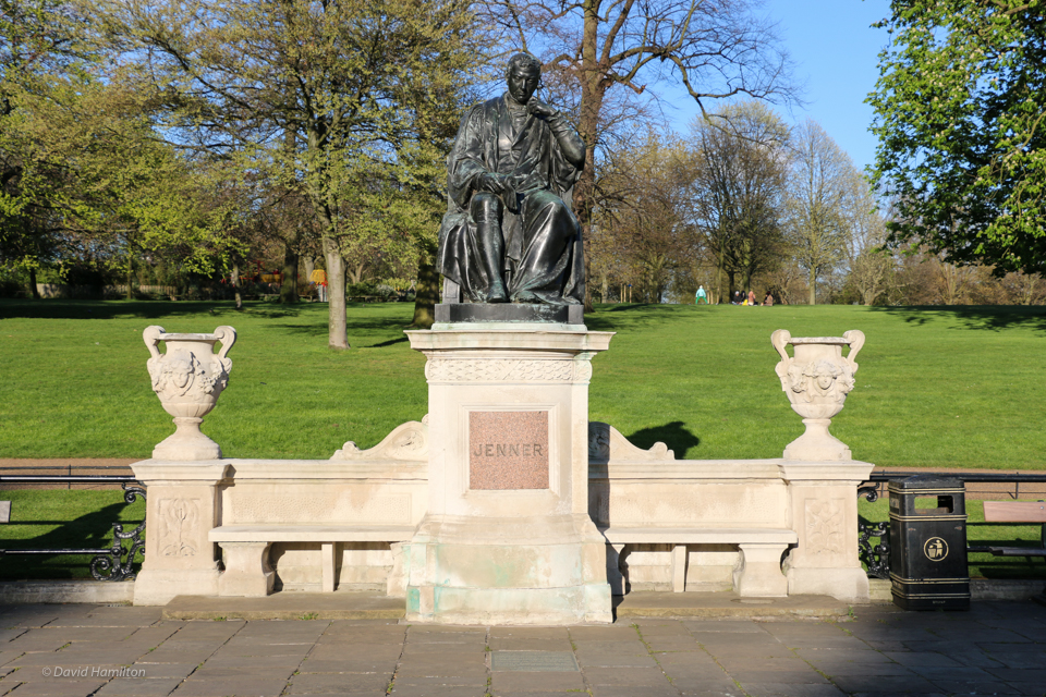 The statue of Edward Jenner in honor of his acheivement for mankind can be found in Hyde Park, in the Italian garden section.