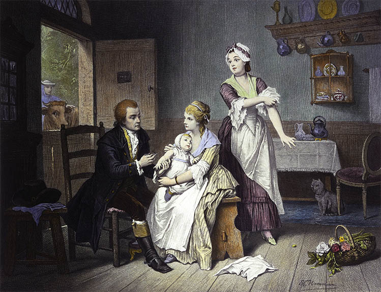 Edward Jenner vaccinating his young child, held by Mrs Jenner. Credit: Wellcome Library, London.