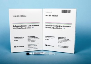 The FluMist Quadrivalent influenza vaccine for the 2014-2015 season. It is shown alongside its approved packaging. It is in the vaccination schedule.