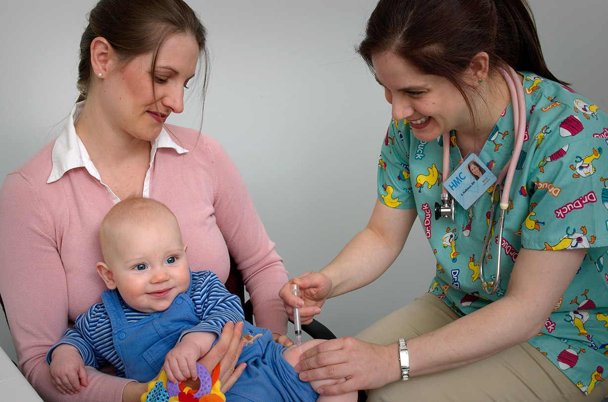 A child receiving an intramuscular vaccination in the thigh. Courtesy of: CDC/Judy Schmidt