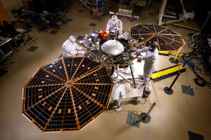 NASA's InSight Mars lander spacecraft in a Lockheed Martin clean room near Denver. As part of a series of deployment tests, the spacecraft was commanded to deploy its solar arrays in the clean room to test and verify the exact process that it will use on the surface of Mars. Credit: NASA/JPL-Caltech/Lockheed Martin