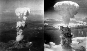 The image on the left shows the atomic bomb blast at Hiroshima while the one on the right shows the blast at Nagasaki.