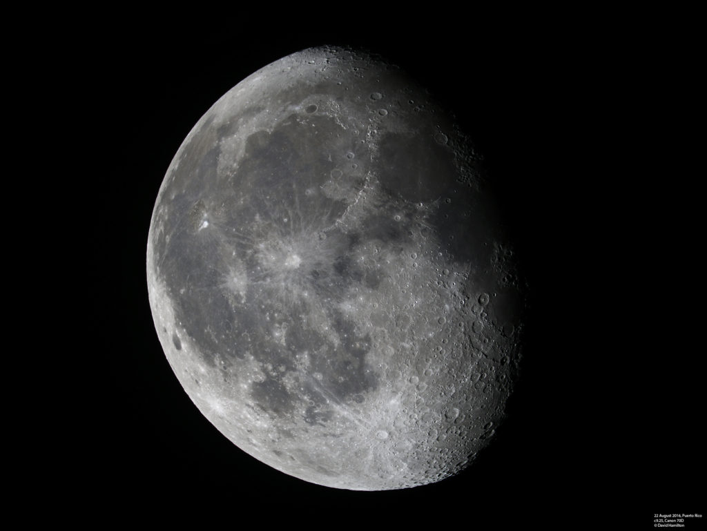 An image of the moon taken on the 22nd August 2016 as imaged through my c9.25 telescope with a Canon 70D.