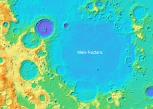 The impact basin Mare Nectaris is 350 km in diameter depression on the moon that has been filled with lava.