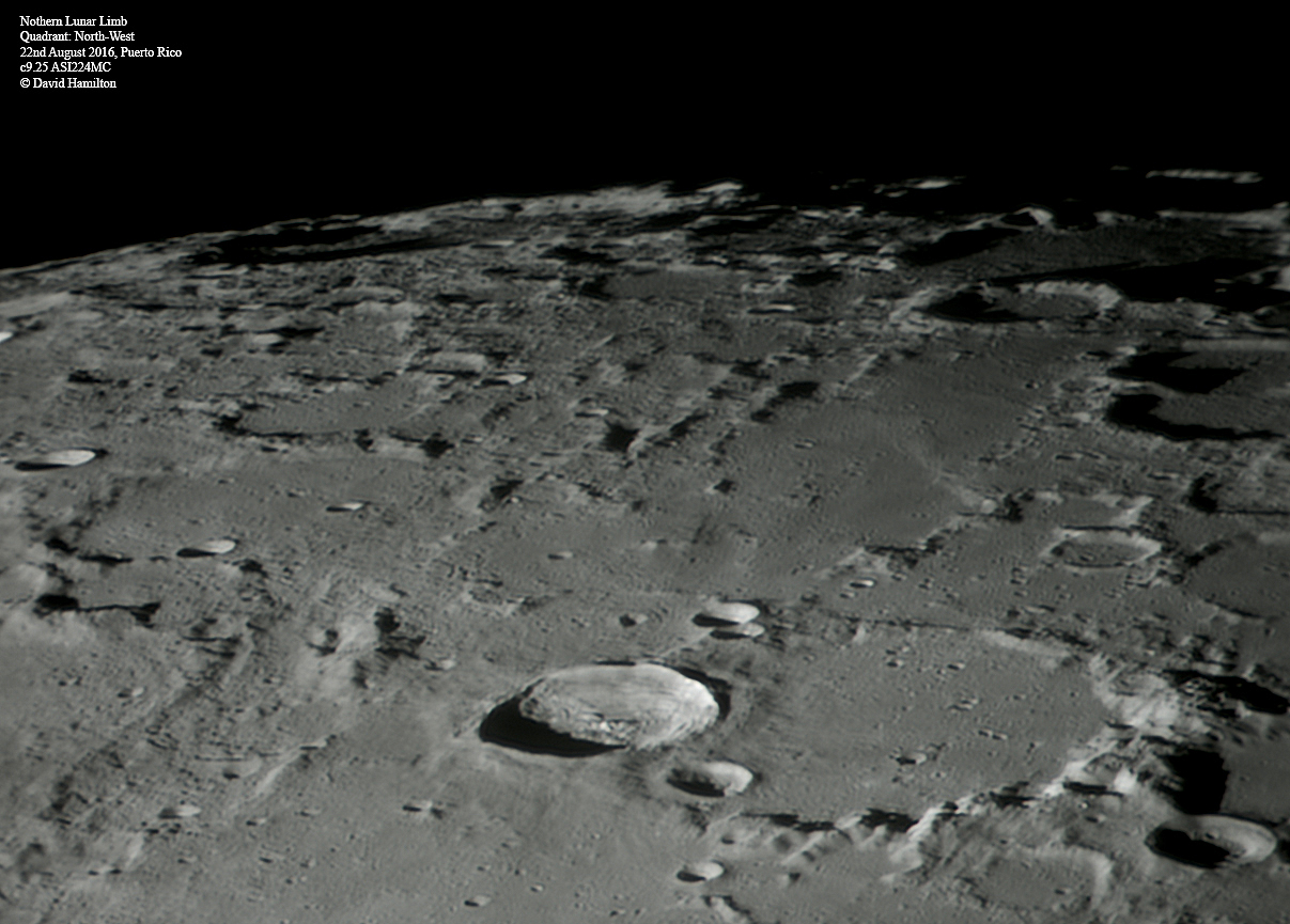 Northern Limb of the Moon. Craters Anaxagoras, Barrow A, Challis, Mouchez, Hermite, Aepinus, Goldschmidt, Gioja, Byrd and Peary.