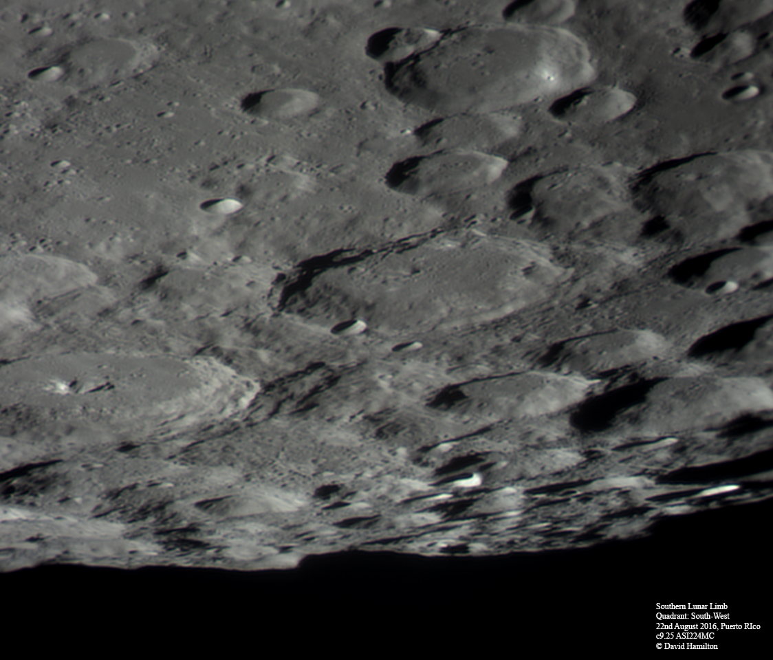 The Southern limb of the moon shows massive crater impacts that are well defined.