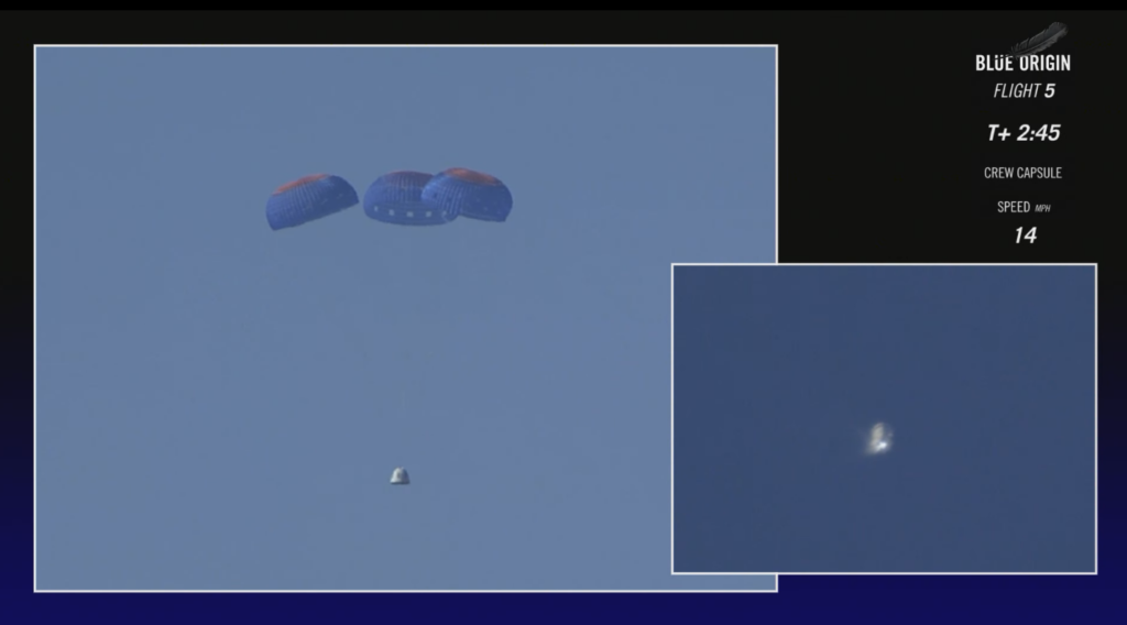 The successful deployment of the Blue Origin crew capsule main chutes.
