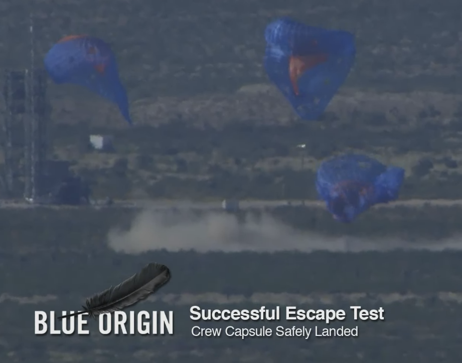 The moment of Blue Origin's Crew Capsule impacts terra firma. A safe return!