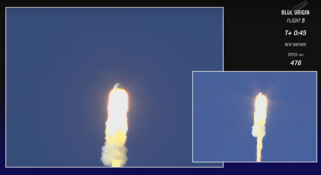 The moment of crew capsule solid rocket firing to initiate the escape.