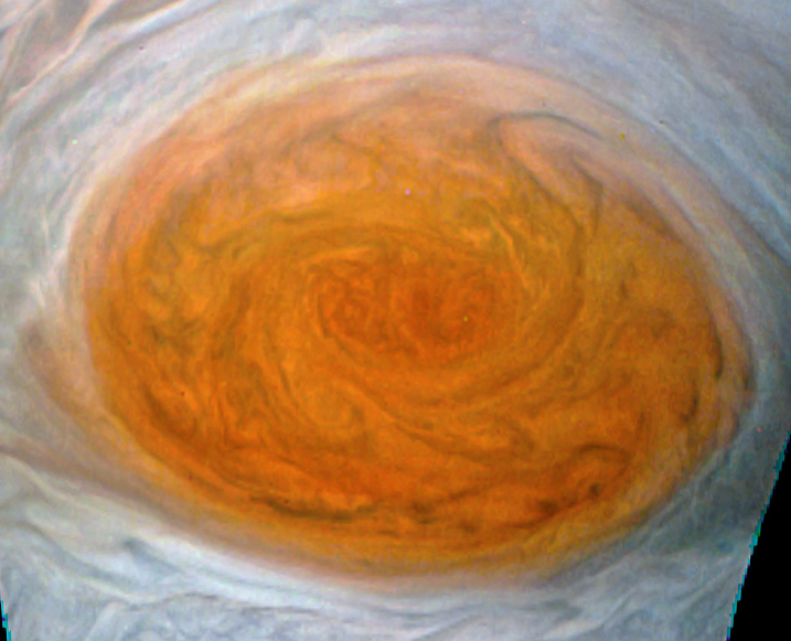 A close up of the Great Red Spot taken from Juno on the 10th July 2017.