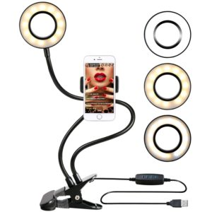 Ring light with desk clamp and cellphone holder.