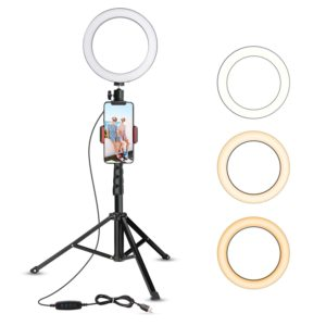 An 8 inch ring light on a small tripod.